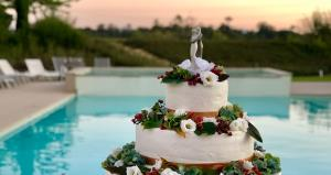Il taglio della torta a bordo piscina